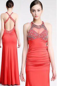 Scoop Watermelon Red Chiffon Criss Cross Prom Dress Sleeveless Floor Length Beading
