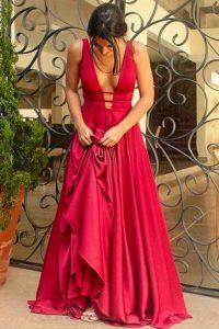 Red V-neck Neckline Beading Prom Gown Sleeveless Criss Cross