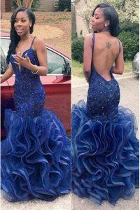 Mermaid Spaghetti Straps Sleeveless Chiffon Evening Dress Ruffles Backless