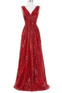 Modern Sequins With Train Red Prom Dress V-neck Sleeveless Brush Train Zipper