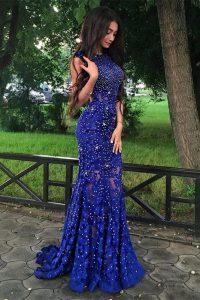 Mermaid Scoop Sleeveless Brush Train Beading and Lace Backless Prom Dress