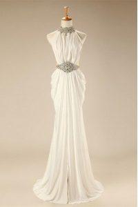 Decent White Empire Beading and Belt Prom Gown Zipper Chiffon Sleeveless