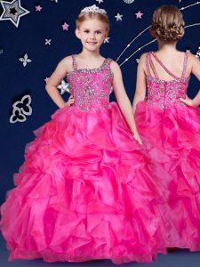 Ball Gowns Little Girls Pageant Dress Wholesale Hot Pink Asymmetric Organza Sleeveless Floor Length Zipper