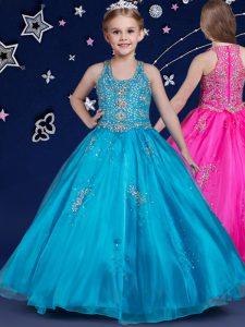 Extravagant Scoop Blue Organza Zipper Pageant Dresses Sleeveless Floor Length Beading
