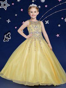 Ball Gowns Child Pageant Dress Gold Scoop Organza Sleeveless Floor Length Zipper