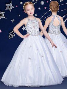 Perfect White Organza Zipper Halter Top Sleeveless Floor Length Kids Formal Wear Beading