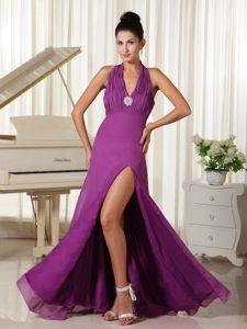 Unique Halter High Slit Ruched Purple Prom Evening Dresses in Floor-length