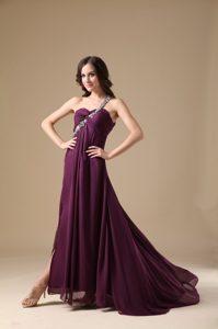 2012 Best Seller Purple One Shoulder Prom Gown Dress for Spring under 150
