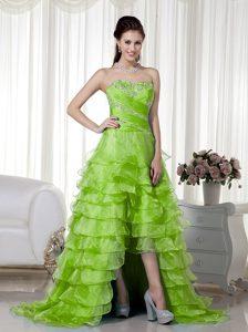 Fabulous Sweetheart Beaded Organza Spring Green Prom DressQueen