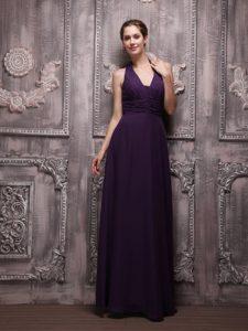Popular Dark Purple Halter Top Ruched Chiffon Long Prom Dresses for Girls