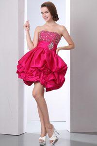 Custom Made Hot Pink Strapless Mini Prom Dressin Taffeta
