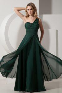 Pretty One Shoulder Long Chiffon Prom Gowns in Dark Green