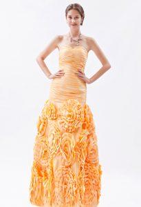 Discount Orange Mermaid Sweetheart Prom Dresses with Rolling Flower