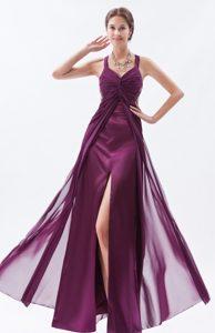 Sheath Straps Beaded Chiffon Prom Dresses in Dark Purple on Promotion