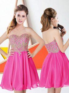 Popular Hot Pink Chiffon Zipper Sweetheart Sleeveless Knee Length Homecoming Dress Appliques