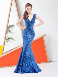 Mermaid Royal Blue Prom Evening Gown Satin Brush Train Sleeveless Sequins