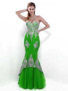 Admirable Mermaid Green Zipper Homecoming Dress Lace Sleeveless Floor Length