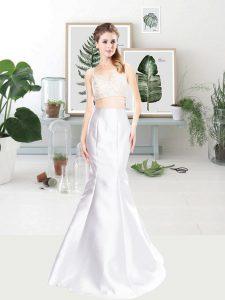 Baby Pink Satin Zipper Prom Party Dress Sleeveless Floor Length Beading