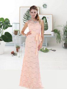 Fine Pink Zipper Prom Evening Gown Lace Sleeveless Floor Length