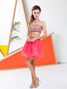 Halter Top Sleeveless Zipper Mini Length Beading Prom Party Dress