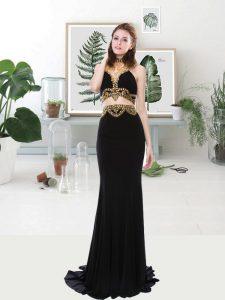 Great Sleeveless With Train Beading Zipper Evening Dress with Black Brush Train