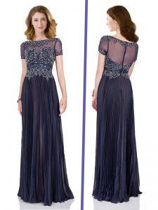 Sumptuous Burgundy Chiffon Zipper Bateau Short Sleeves Floor Length Prom Dresses Beading
