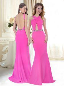 Stylish Halter Top Sleeveless Sweep Train Belt Backless Prom Party Dress