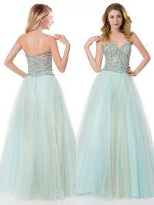 Floor Length A-line Sleeveless Light Blue Prom Gown Zipper