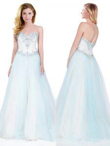 Charming Light Blue Sweetheart Zipper Beading Prom Dresses Sweep Train Sleeveless
