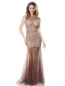 Rust Red Scoop Neckline Beading Dress for Prom Sleeveless Zipper