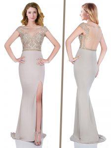 Luxury Peach Zipper Prom Dress Beading Short Sleeves Sweep Train