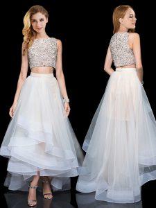 White Organza Zipper Scoop Sleeveless Floor Length Evening Dress Beading and Ruffles