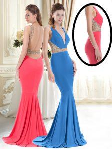 Coral Red Mermaid V-neck Sleeveless Satin Brush Train Backless Beading Homecoming Dress