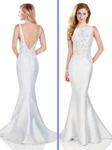 Custom Fit Mermaid Satin Bateau Sleeveless Brush Train Backless Beading Prom Gown in Silver