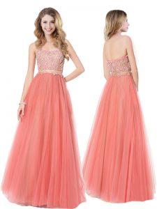 Decent Beading Homecoming Dress Orange Zipper Sleeveless Floor Length