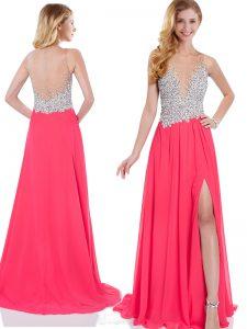 Customized V-neck Sleeveless Brush Train Zipper Prom Party Dress Coral Red Chiffon