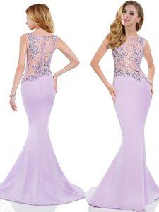 Mermaid Lavender Zipper Scoop Beading and Appliques Satin Sleeveless Brush Train