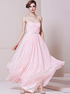 Nice Floor Length Baby Pink Prom Evening Gown Sweetheart Sleeveless Zipper