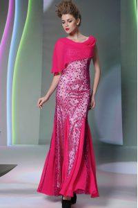 Cheap Mermaid Scoop Sleeveless Zipper Floor Length Beading Prom Party Dress