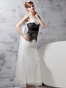 Beauteous One Shoulder Sleeveless Chiffon Evening Dress Lace Side Zipper