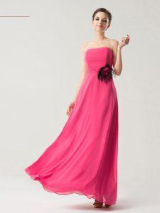 Strapless Sleeveless Zipper Prom Evening Gown Hot Pink Chiffon