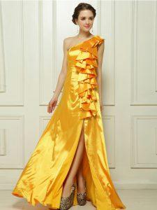 Stunning One Shoulder Sleeveless Taffeta Dress for Prom Ruffles Brush Train Zipper