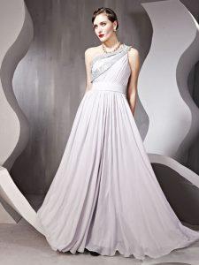 Hot Selling Silver One Shoulder Neckline Beading Dress for Prom Sleeveless Side Zipper