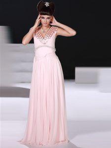 Baby Pink Chiffon Zipper V-neck Sleeveless Floor Length Beading