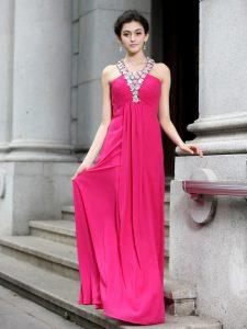 Admirable Sleeveless Beading and Ruching Criss Cross Homecoming Dress