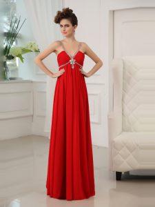 Red Chiffon Zipper V-neck Sleeveless Floor Length Evening Dress Beading and Ruching