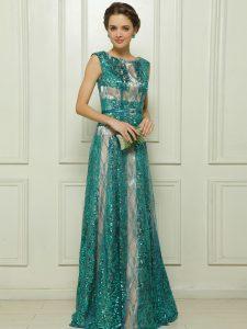 Sequins Scoop Sleeveless Zipper Evening Dress Teal Tulle