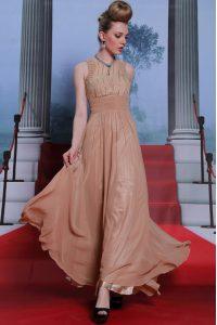 Sequins Column/Sheath Evening Dress Peach Scoop Chiffon Sleeveless Floor Length Clasp Handle