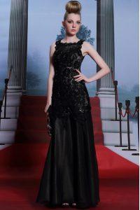 Noble Empire Prom Dress Black Scoop Satin Sleeveless Floor Length Zipper