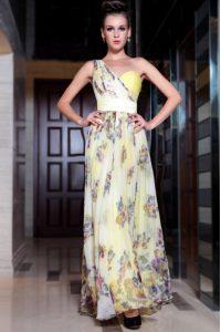 Low Price Column/Sheath Prom Dresses Light Yellow One Shoulder Chiffon Sleeveless Floor Length Side Zipper